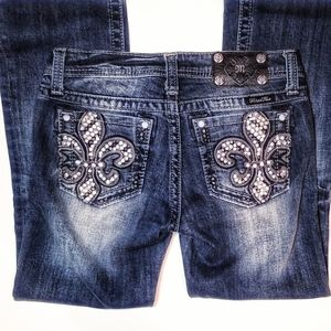 Miss Me Jean's Blue Bootcut Rhinestone pockets